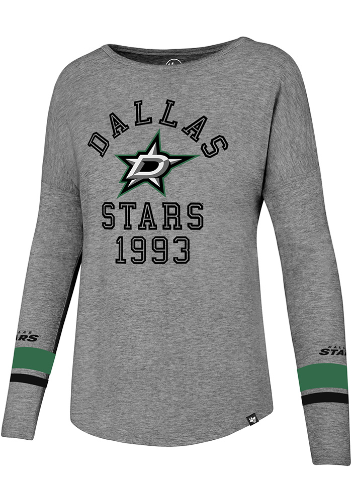47 Dallas Stars Womens Grey Encore Heather Courtside LS Tee - Image 1