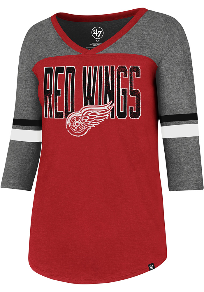 '47 Detroit Red Wings Womens Red Club Rush Long Sleeve T-Shirt - Image 1