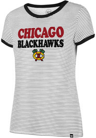 47 Chicago Blackhawks Womens Striped Ringer White T-Shirt