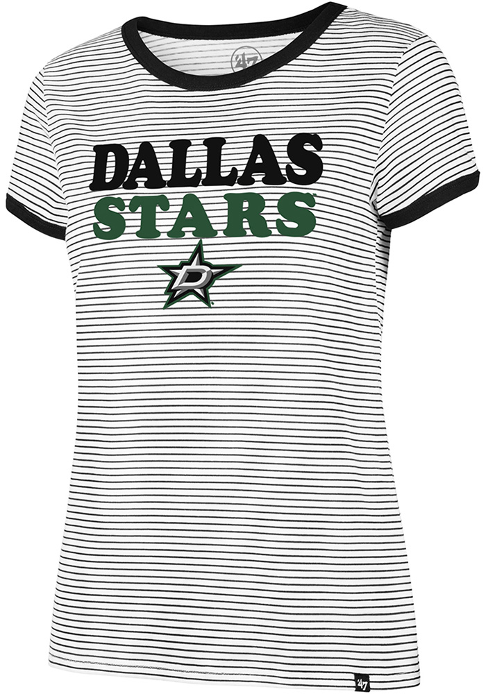 '47 Dallas Stars Womens White Striped Ringer Short Sleeve Crew T-Shirt - Image 1