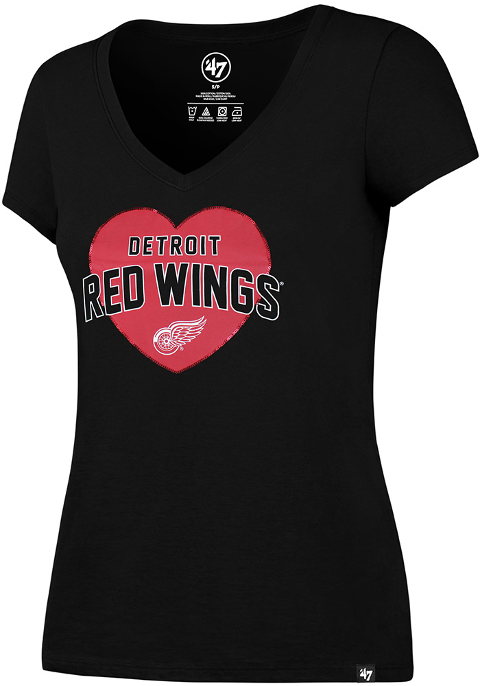 47 Detroit Red Wings Womens Black Lux Sequin V-Neck - Image 1
