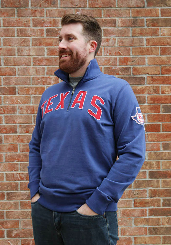 '47 Texas Rangers Mens Blue Striker Long Sleeve 1/4 Zip Fashion Pullover - Image 2