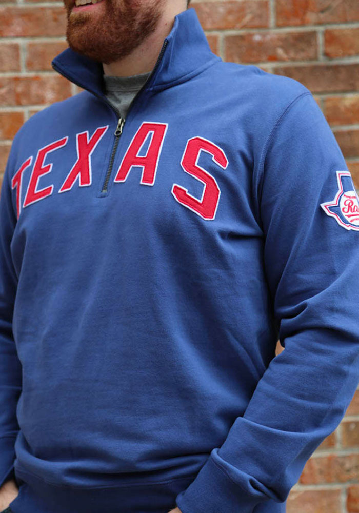 '47 Texas Rangers Mens Blue Striker Long Sleeve 1/4 Zip Fashion Pullover - Image 3
