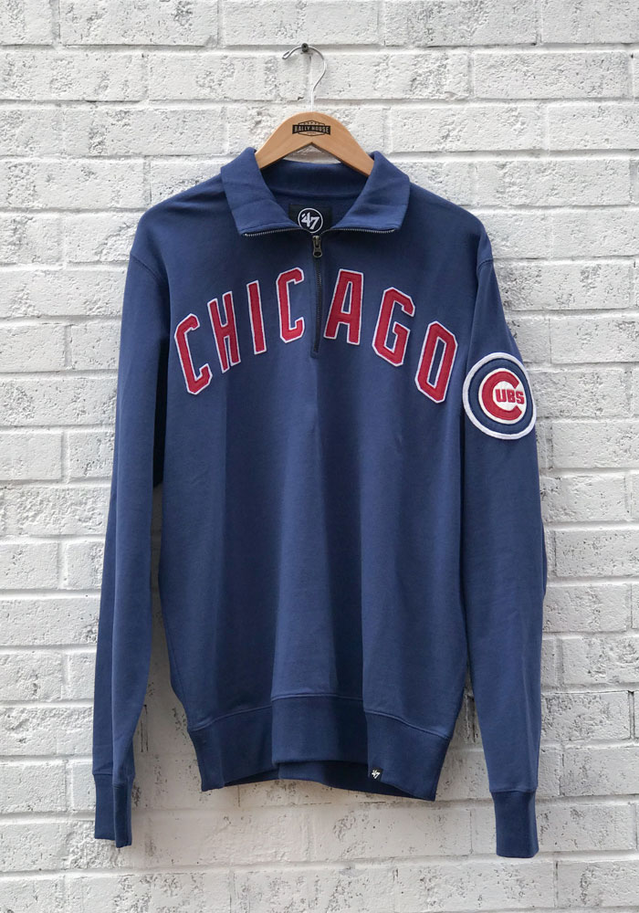 '47 Chicago Cubs Mens Blue Striker Long Sleeve 1/4 Zip Fashion Pullover - Image 1