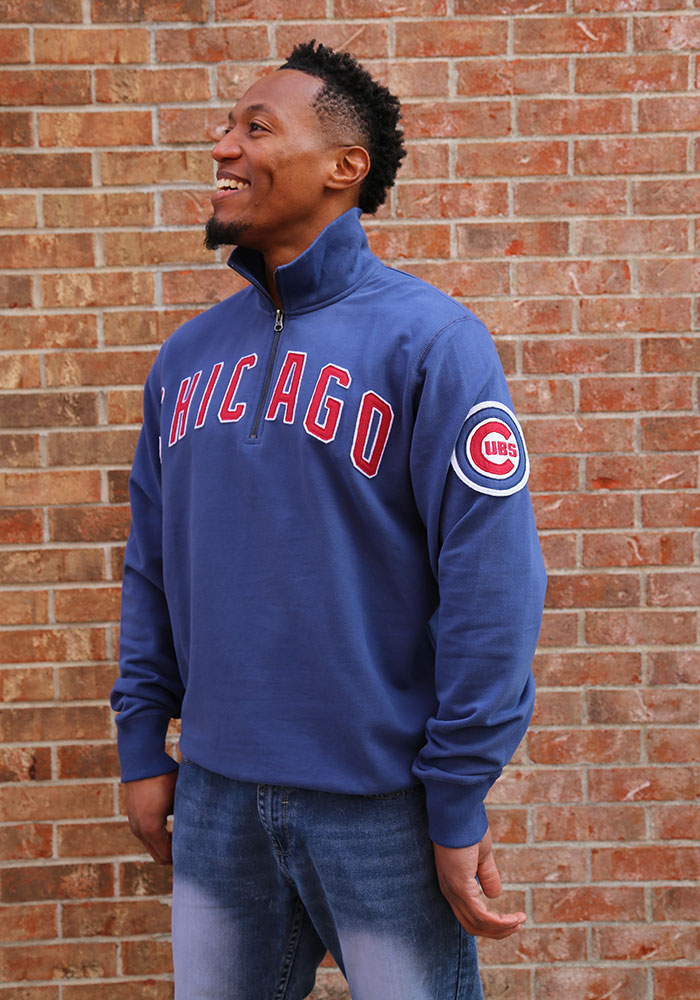 '47 Chicago Cubs Mens Blue Striker Long Sleeve 1/4 Zip Fashion Pullover - Image 2