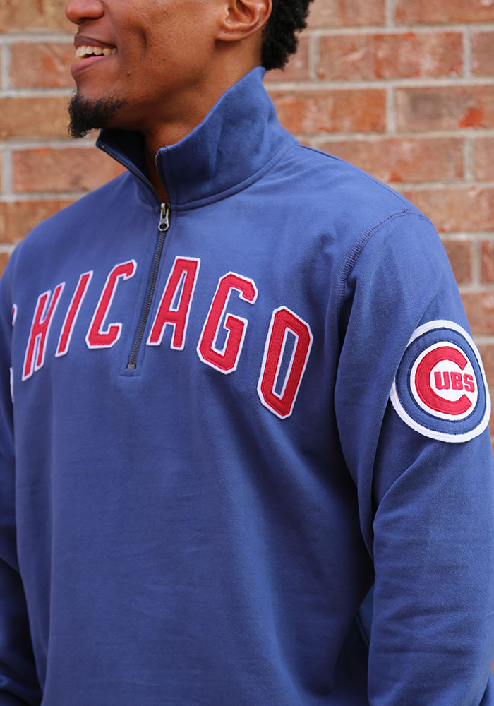 '47 Chicago Cubs Mens Blue Striker Long Sleeve 1/4 Zip Fashion Pullover - Image 3