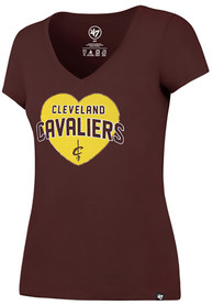 47 Cleveland Cavaliers Womens Maroon Lux Sequin T-Shirt
