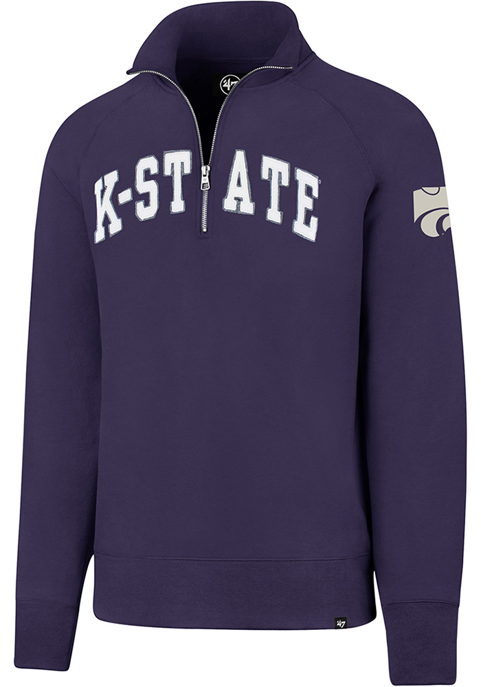'47 K-State Wildcats Mens Purple Striker Long Sleeve 1/4 Zip Fashion Pullover - Image 1