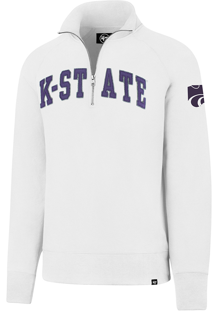 '47 K-State Wildcats Mens White Striker Long Sleeve 1/4 Zip Fashion Pullover - Image 1