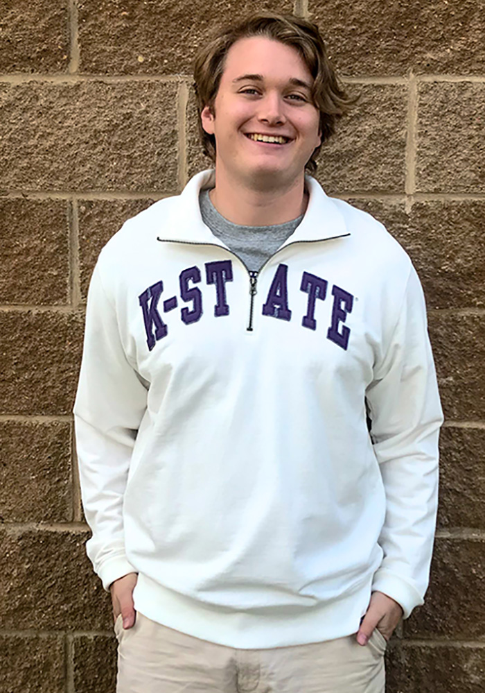 '47 K-State Wildcats Mens White Striker Long Sleeve 1/4 Zip Fashion Pullover - Image 3