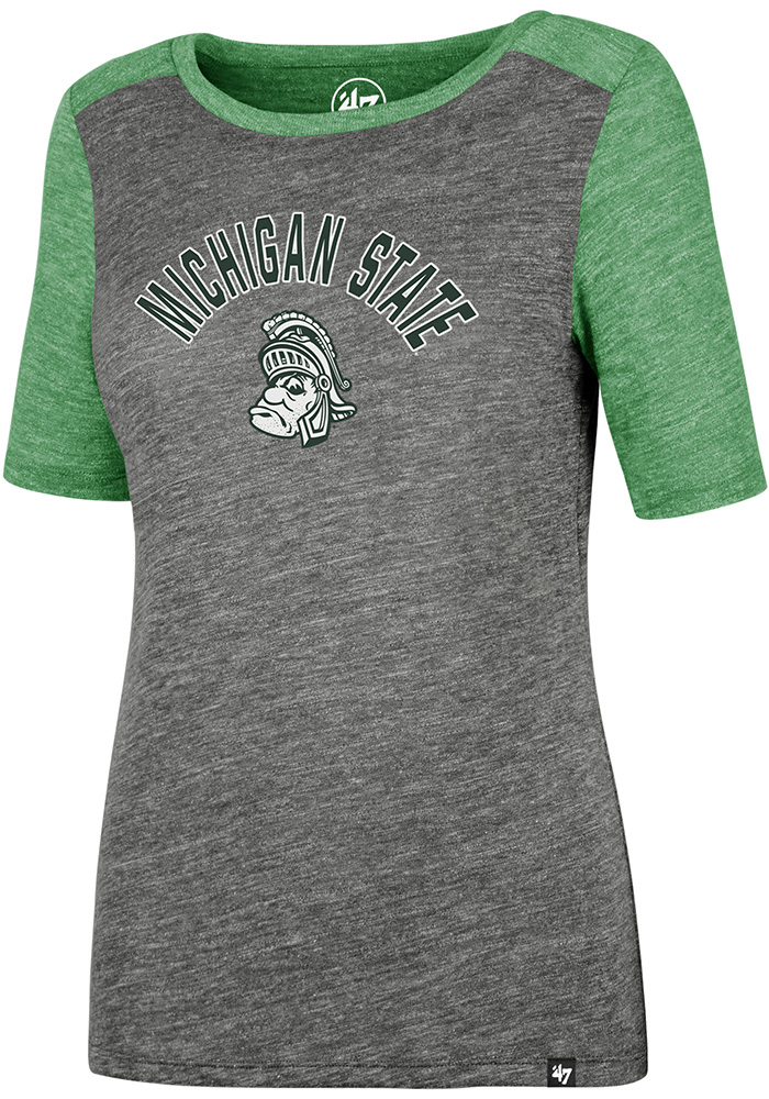 47 Michigan State Spartans Womens Grey Encore Empire Short Sleeve Crew T-Shirt - Image 1