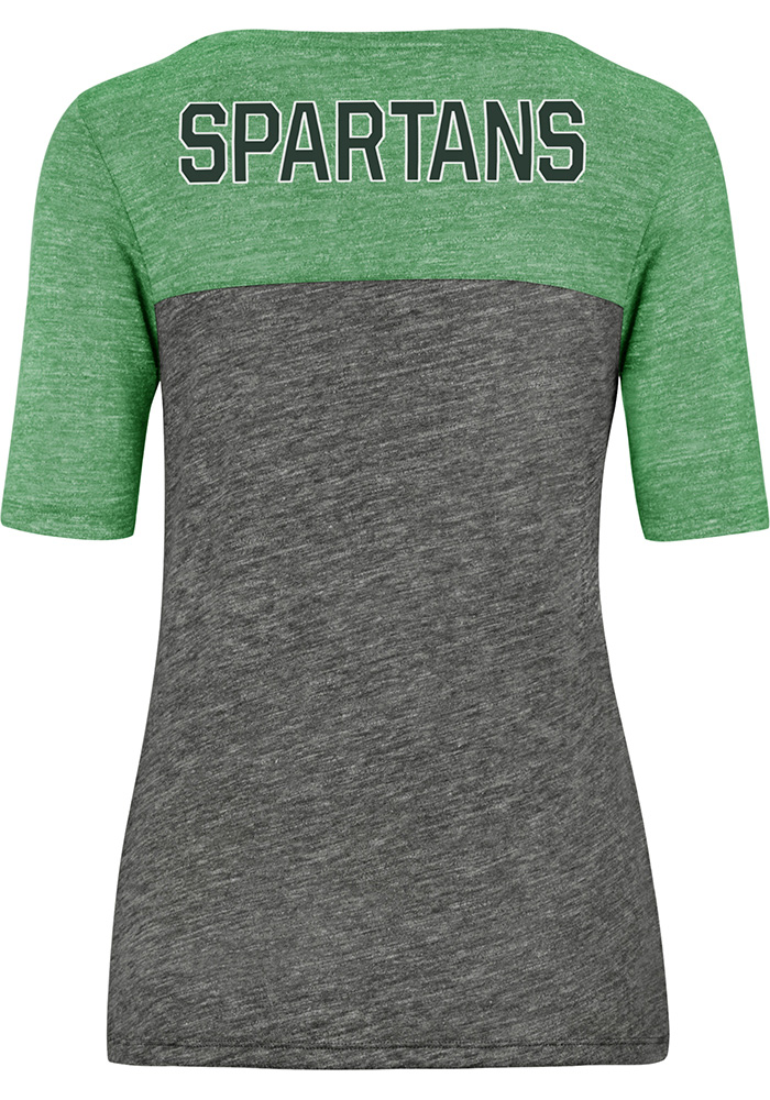 47 Michigan State Spartans Womens Grey Encore Empire Short Sleeve Crew T-Shirt - Image 2
