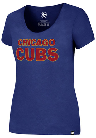 '47 Chicago Cubs Womens Metallic Gold Wordmark Blue Scoop T-Shirt