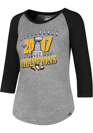 '47 Pittsburgh Penguins Womens 2017 Stanley Cup Champions Scoop Neck Tee