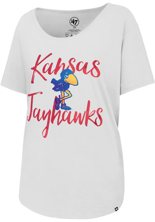 '47 Kansas Jayhawks Womens White Watercolor Boyfriend Scoop