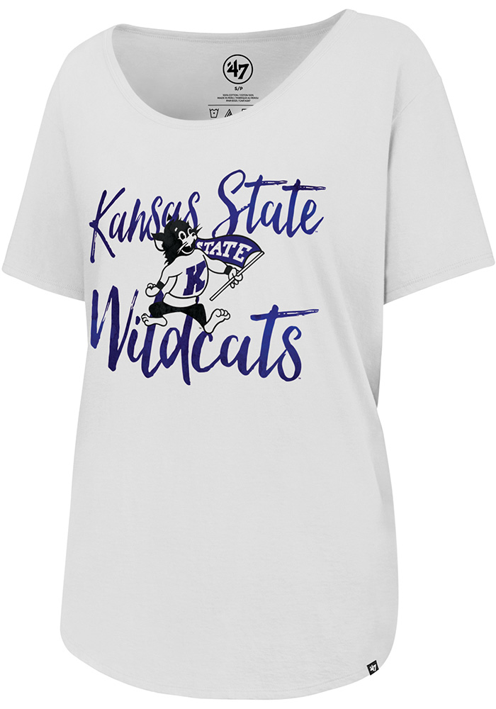 '47 K-State Wildcats Womens White Watercolor Boyfriend Short Sleeve Scoop - Image 1