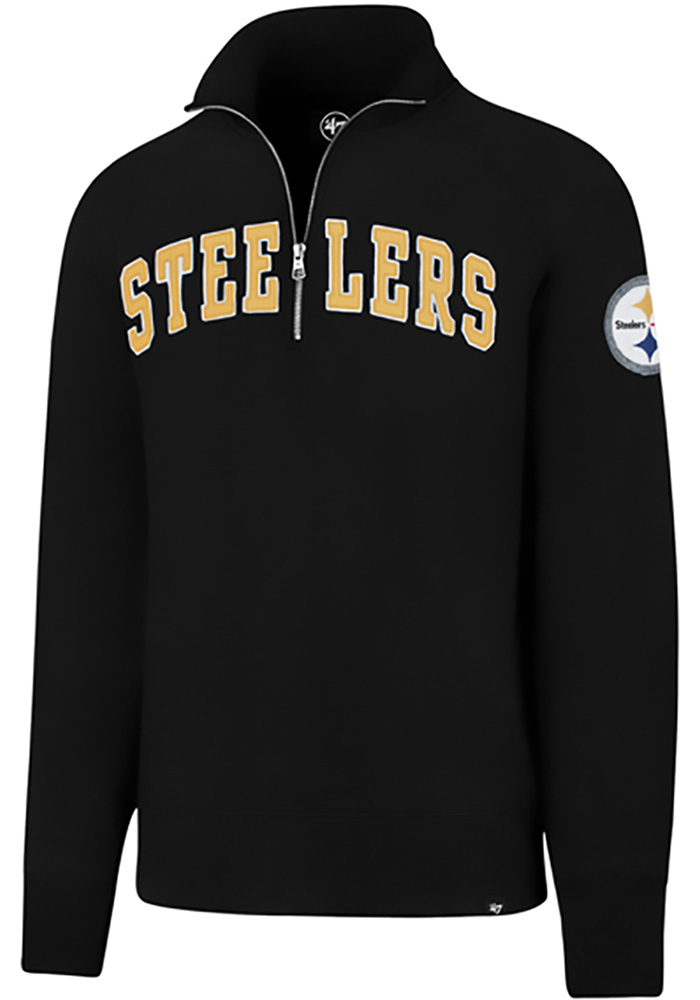 '47 Pittsburgh Steelers Mens Black Striker Long Sleeve 1/4 Zip Fashion Pullover, Black, 100% COTTON, Size XL