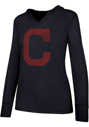 '47 Cleveland Indians Womens Navy Blue Primetime Hoodie