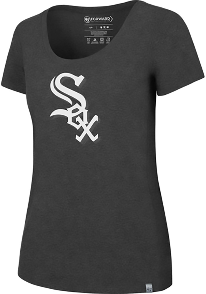 '47 Chicago White Sox Womens Black SS Athleisure High Point Alternate Logo Tee Tee
