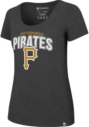 '47 Pittsburgh Pirates Womens Black SS Athleisure High Point Tee Tee
