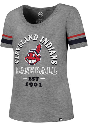 '47 Cleveland Indians Womens Fantasy Grey Scoop T-Shirt