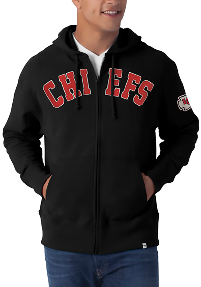 '47 Kansas City Chiefs Mens Black Striker Long Sleeve Zip Fashion - Image 1