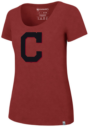 '47 Cleveland Indians Womens Red SS Athleisure High Point Primary Logo Tee Tee