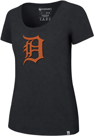'47 Detroit Tigers Womens Navy Blue SS Athleisure High Point Cap Logo Tee Tee