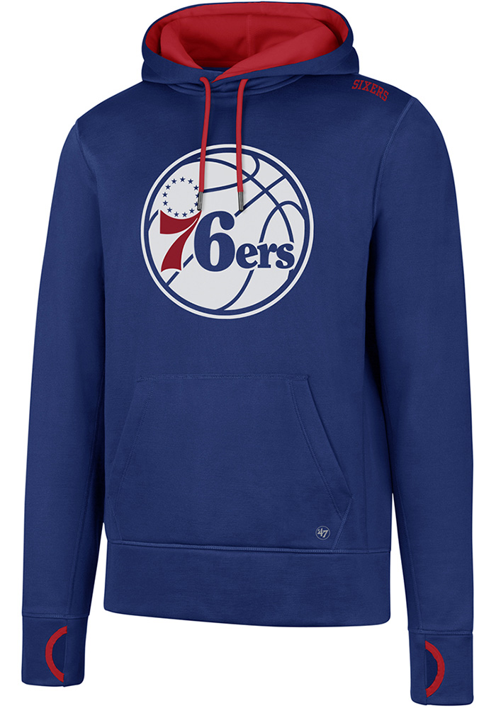 '47 Philadelphia 76ers Mens Blue Forward Fleece Hood - Image 1