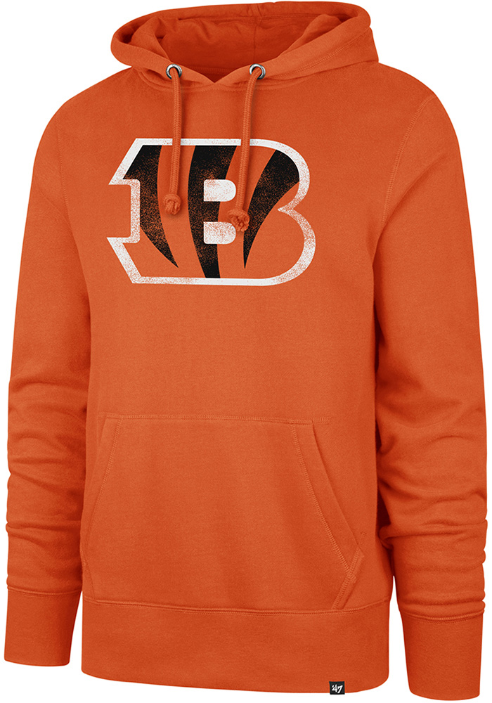 '47 Cincinnati Bengals Mens Orange Knockaround Headline Long Sleeve Hoodie - Image 1