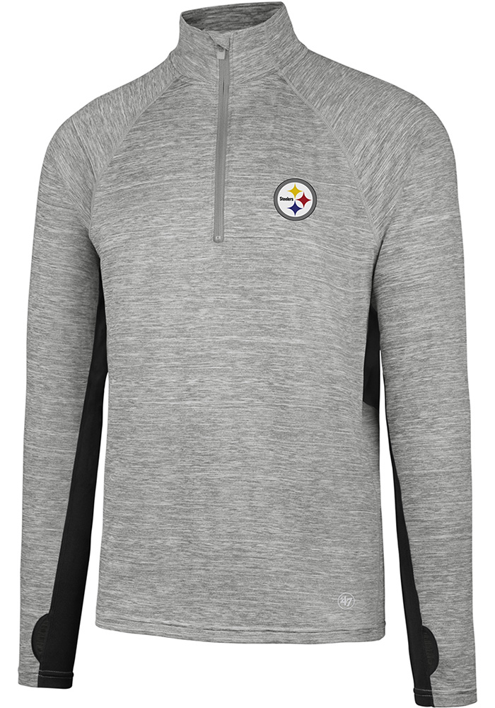 '47 Pittsburgh Steelers Mens Grey Microlite Long Sleeve 1/4 Zip Pullover, Grey, 100% POLYESTER, Size L