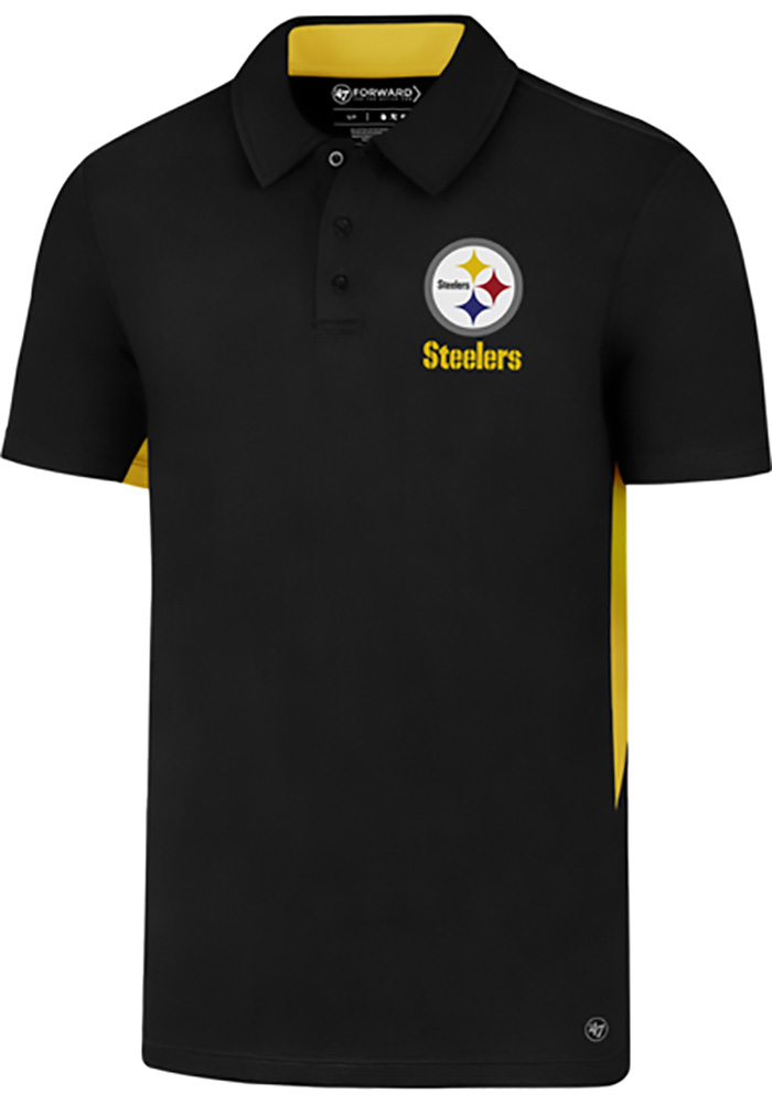 a4561ae07  47 Pittsburgh Steelers Black Forward Microlite Short Sleeve Polo Shirt