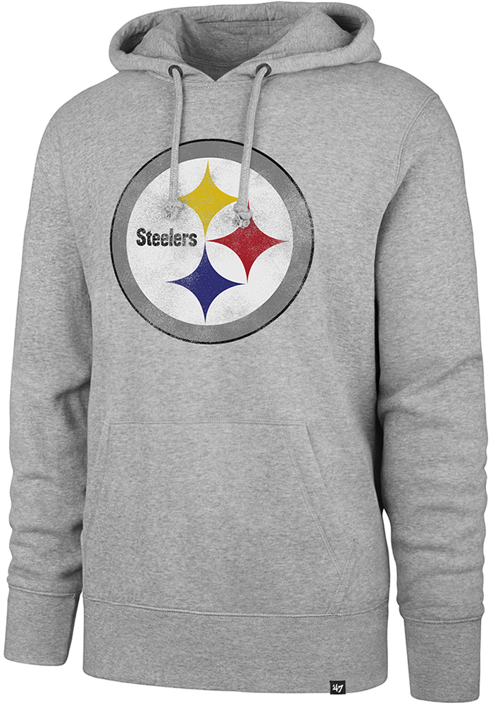 '47 Pittsburgh Steelers Mens Grey Knockaround Headline Long Sleeve Hoodie - Image 1
