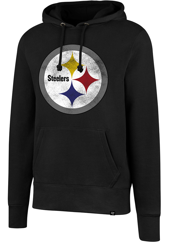 big sale 90329 0589b '47 Pittsburgh Steelers Mens Black Knockaround Headline Long Sleeve Hoodie