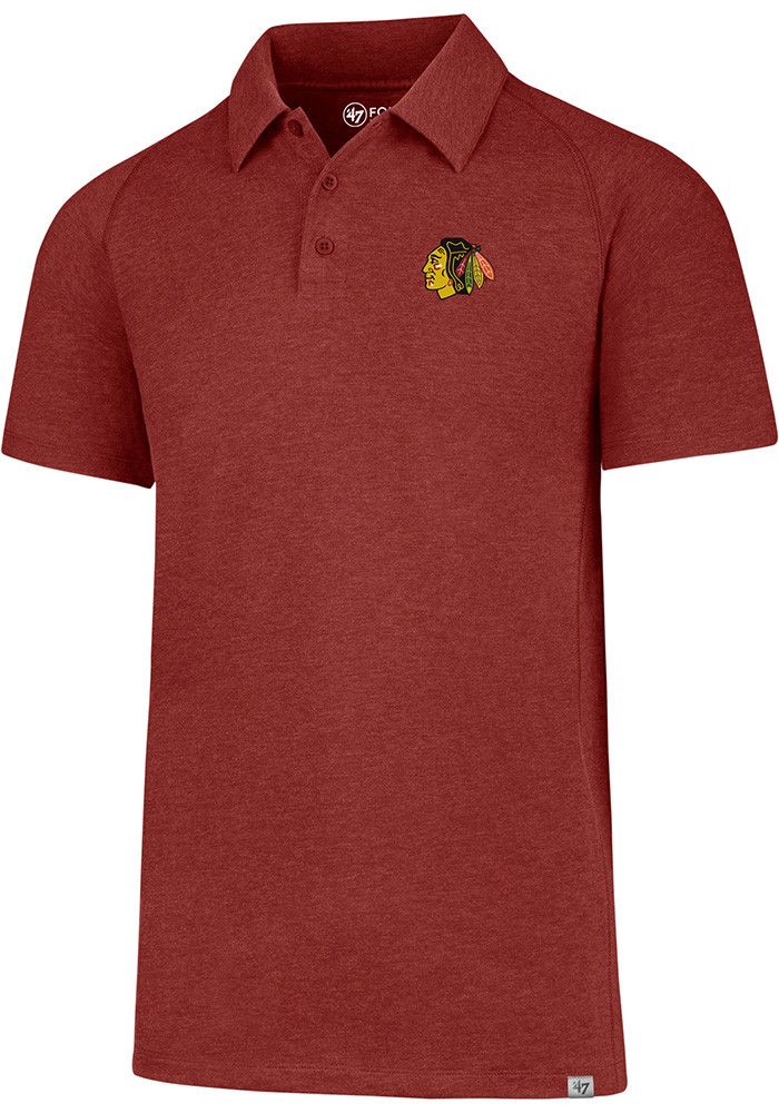 '47 Chicago Blackhawks Mens Red Forward Gravity Short Sleeve Polo - Image 1