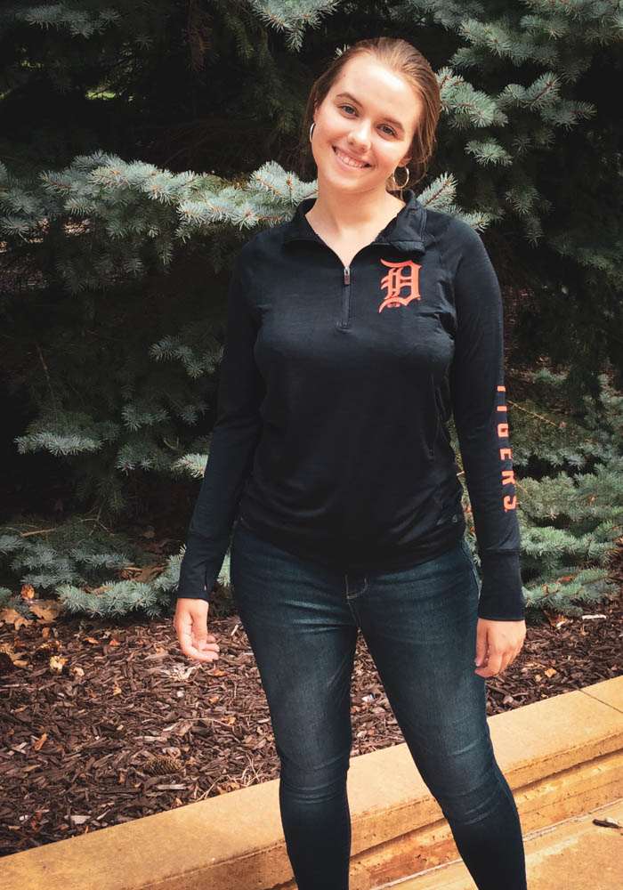 '47 Detroit Tigers Womens Navy Blue Forward Shade 1/4 Zip Pullover - Image 3