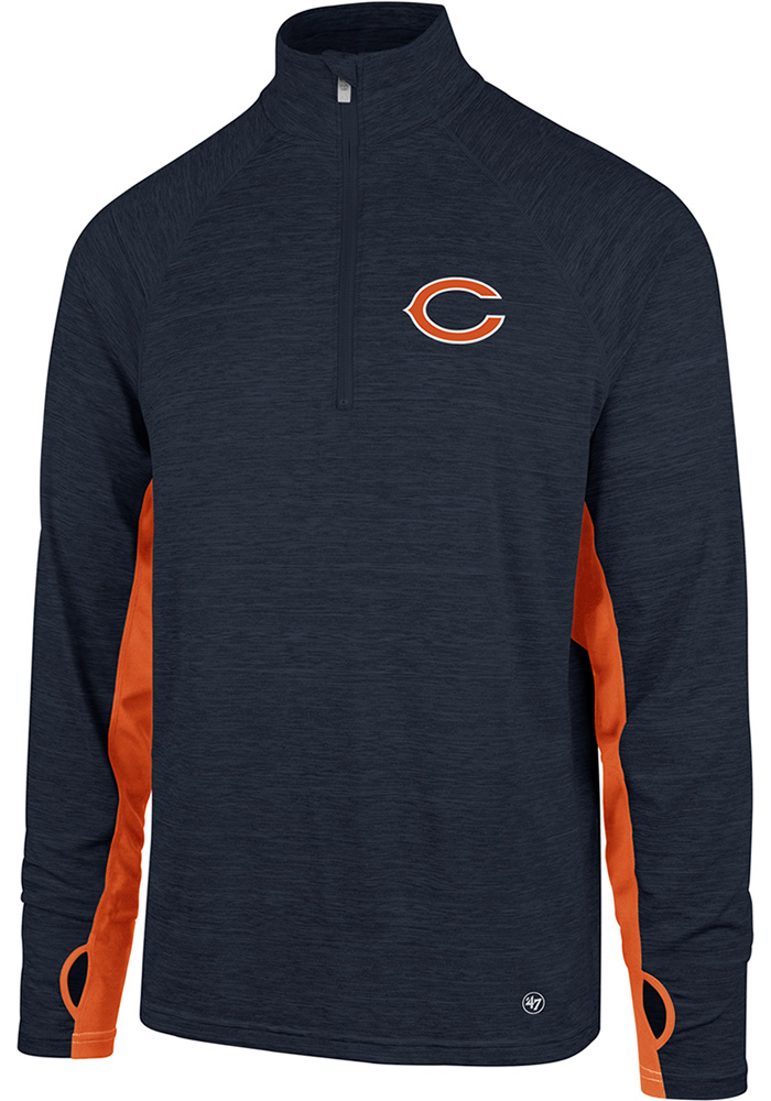 '47 Chicago Bears Mens Navy Blue Omni Long Sleeve 1/4 Zip Pullover - Image 1