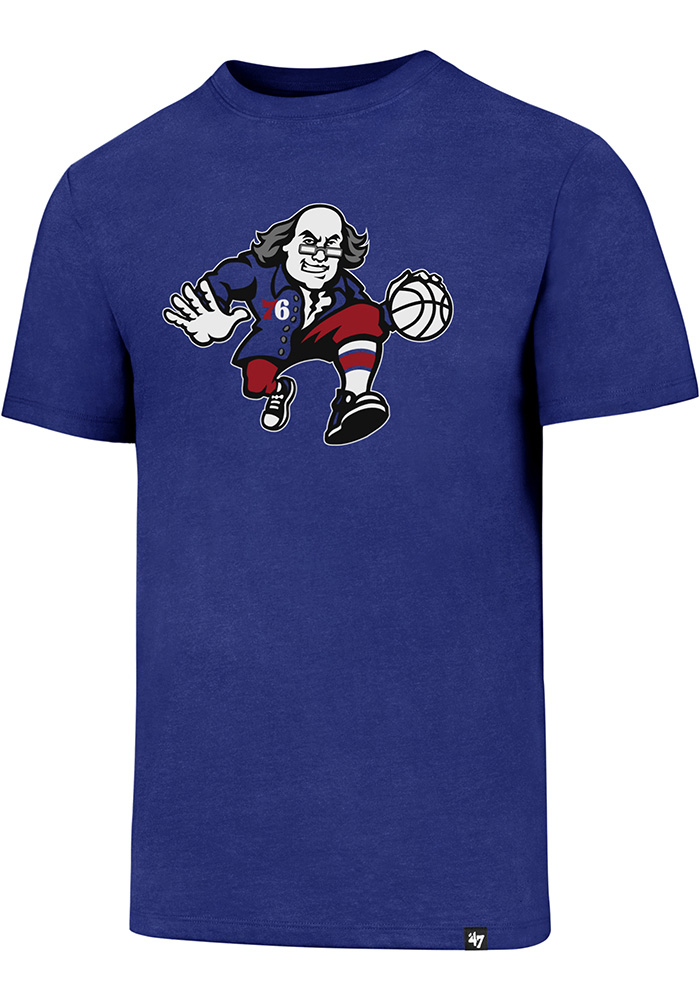 '47 Philadelphia 76ers Mens Blue Retro Club Short Sleeve T Shirt - Image 1