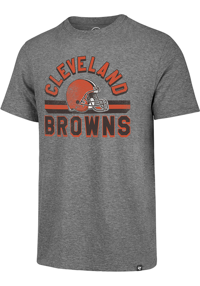 47 Cleveland Browns Grey Stripe Short Sleeve Fashion T Shirt - Image 1