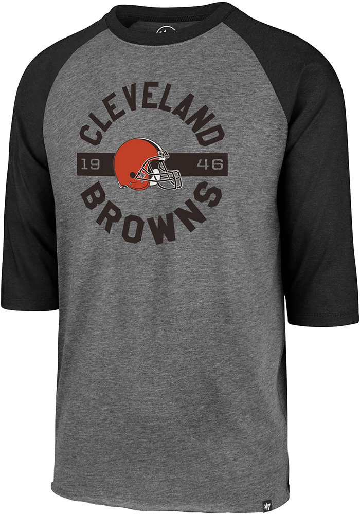 '47 Cleveland Browns Grey Round About Long Sleeve Fashion T Shirt - Image 1