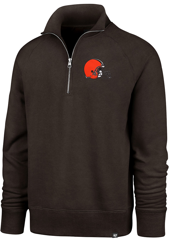 '47 Cleveland Browns Mens Brown Headline Long Sleeve 1/4 Zip Fashion Pullover - Image 1