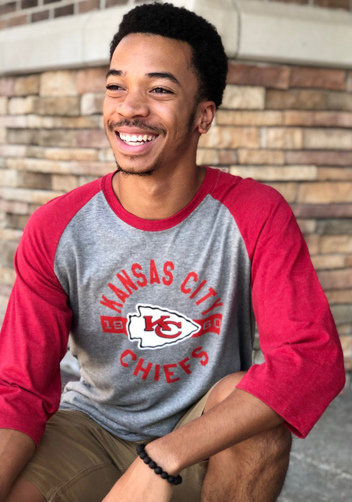 47 Kansas City Chiefs Grey Round About Long Sleeve Fashion T Shirt - Image 2