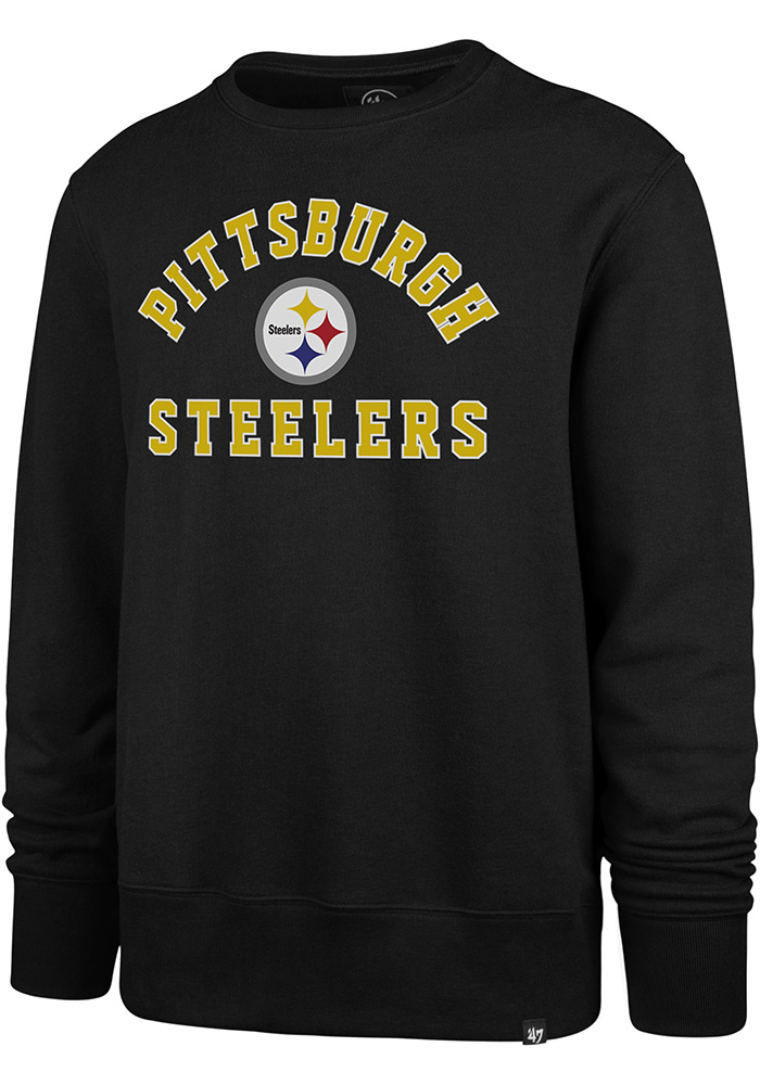 '47 Pittsburgh Steelers Mens Black Varsity Arch Long Sleeve Fashion Sweatshirt - Image 1