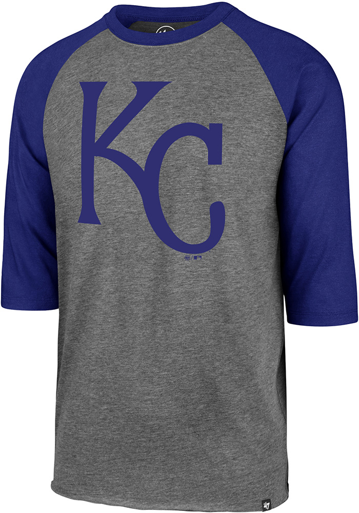 47 Kansas City Royals Grey Club Raglan Long Sleeve T Shirt - Image 1