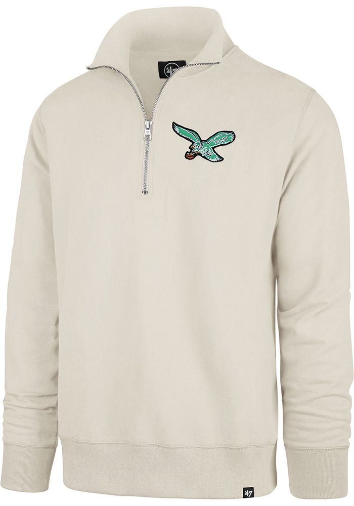 '47 Philadelphia Eagles Mens White Striker Long Sleeve 1/4 Zip Fashion Pullover - Image 1