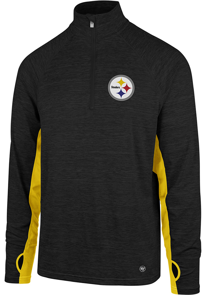 bd95323d785  47 Pittsburgh Steelers Black Omni 1 4 Zip Pullover