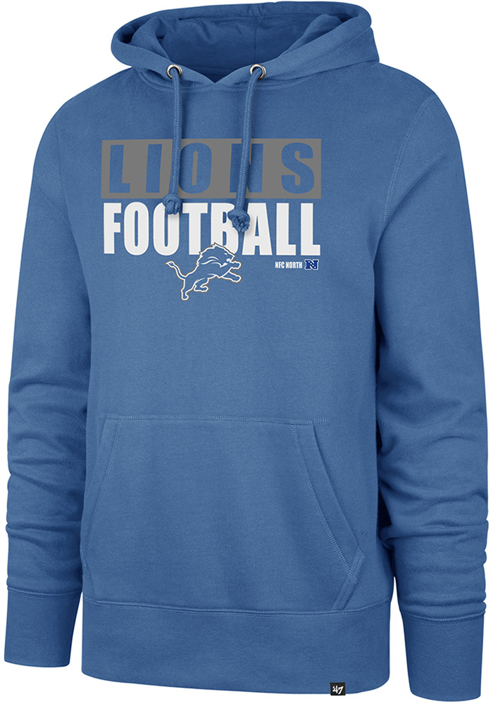 '47 Detroit Lions Mens Blue Block Out Long Sleeve Hoodie - Image 1