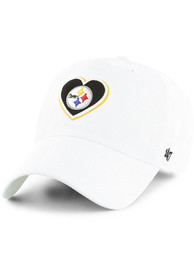 47 Pittsburgh Steelers Womens White Courtney Clean Up Adjustable Hat