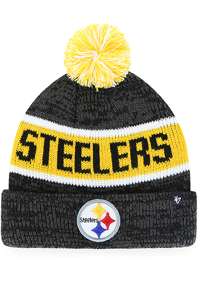 '47 Pittsburgh Steelers Black Tadpole Cuff Knit Youth Knit Hat - Image 1