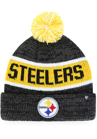 bea0f2aa '47 Pittsburgh Steelers Black Tadpole Cuff Knit Youth Knit Hat